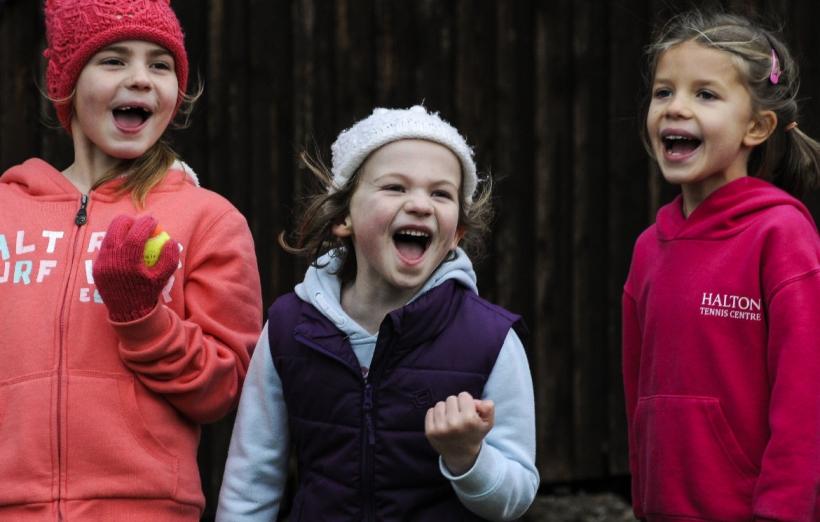 Happy girls cheering